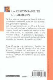 La responsabilite du medecin - 3e ed. (3e édition) - 4ème de couverture - Format classique