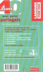 40 Lecons Pour Parler Portugais - 4ème de couverture - Format classique