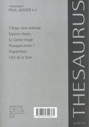 Paul Auster - Oeuvres Romanesques.2 Et Autres Textes - 4ème de couverture - Format classique