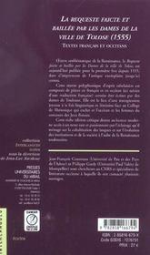 La requeste faicte et baillee par les dames de la ville de tolose (1555) textes francais et occitans - 4ème de couverture - Format classique