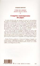 L'état de justice ; France, XIIIe-XXe siècle t.2 ; l'emprise contemporaine des juges - 4ème de couverture - Format classique