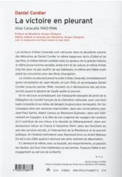 La victoire en pleurant : alias Caracalla 1943-1946 - 4ème de couverture - Format classique