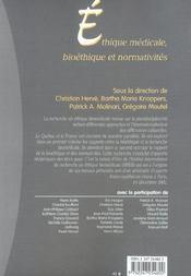 Ethique medicale, bioethique et normativites (1re édition) - 4ème de couverture - Format classique