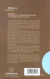 Pouvoir civil et commandement militaire ; du roi connétable aux leaders du 20e siècle - 4ème de couverture - Format classique