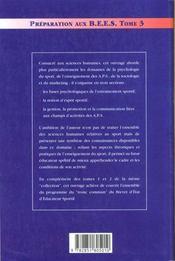 Préparation aux BEES t.3 - 4ème de couverture - Format classique
