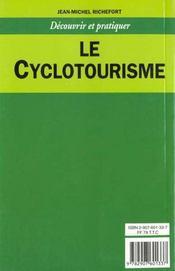 Cyclotourisme (le) - dp - 4ème de couverture - Format classique
