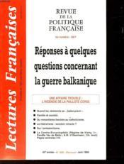 Revue De La Politique Francaise - N°506 - Reponses A Quelques Questions Concernant La Guerre Balkanique - Couverture - Format classique