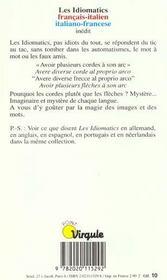 Idiomatics Francais-Italien (Les) - 4ème de couverture - Format classique