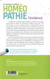 Homéopathie ; l'évidence ; un francais sur deux l'utilise, et il a raison ! - 4ème de couverture - Format classique