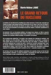 Le grand retour du nucléaire - 4ème de couverture - Format classique