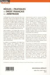 Règles et pratiques du droit français de l'arbitrage - 4ème de couverture - Format classique