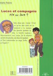 Lucas Et Compagnie - Pile Ou Face ? - 4ème de couverture - Format classique