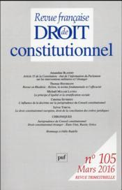 Revue Francaise De Droit Constitutionnel N.105 - Couverture - Format classique