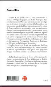 Petite vie de Sainte Rita - 4ème de couverture - Format classique