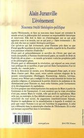 L'événement ; nouveau traité théologico-politique - 4ème de couverture - Format classique