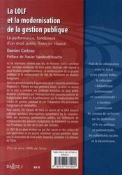 La LOLFet la modernisation de la gestion publique ; la performance, fondement d'un droit financier rénové - 4ème de couverture - Format classique