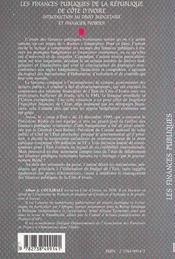 Les Finances Publiques De La Republique De Cote D'Ivoire ; Introduction Au Droit Budgetaire Et Financier Ivoirien - 4ème de couverture - Format classique