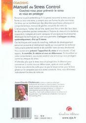 Le guide du stress control - 4ème de couverture - Format classique