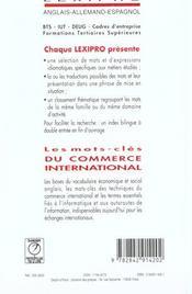 Lexipro anglais commerce internat. - 4ème de couverture - Format classique