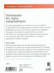 Dictionnaire des regles typographiques - 4ème de couverture - Format classique
