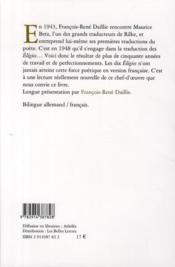 Élégies de duino - 4ème de couverture - Format classique