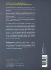 Histoire des idées politiques aux temps modernes et contemporains - 4ème de couverture - Format classique