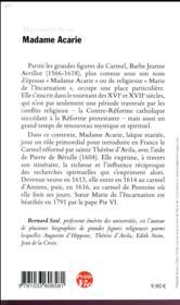 Petite vie de Madame Acarie - 4ème de couverture - Format classique
