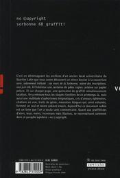 Sorbonne 68 graffiti ; no ©opyright - 4ème de couverture - Format classique
