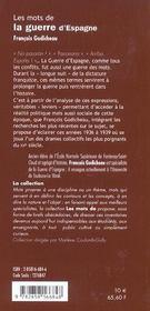 Les Mots De La Guerre D Espagne - 4ème de couverture - Format classique