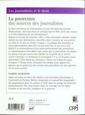 Protection Des Sources Des Journalistes - 4ème de couverture - Format classique