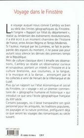 Voyage Dans Le Finistere - 4ème de couverture - Format classique