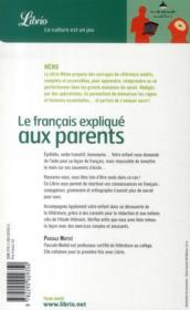 Le Francais Expliques Aux Parents - 4ème de couverture - Format classique