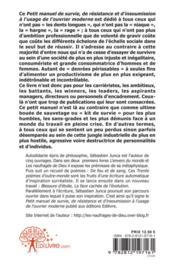 Petit Manuel De Survie, De Resistance Et D'Insoumission A L'Usage De L'Ouvrier Moderne - 4ème de couverture - Format classique
