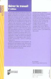 Gérer le travail (2e édition) - 4ème de couverture - Format classique