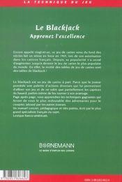 Blackjack Apprenez L'Excellence - 4ème de couverture - Format classique