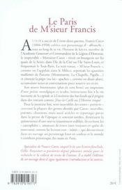 Le Paris De M'Sieur Francis - 4ème de couverture - Format classique