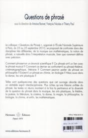 Question de phrasé - 4ème de couverture - Format classique