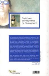 Poetiques Et Imaginaires De L'Evenement - 4ème de couverture - Format classique