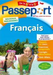 Passeport ; français ; de la 6e à la 5e - Couverture - Format classique