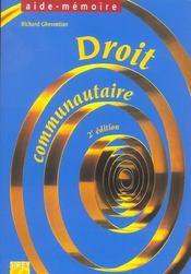 Droit communautaire (2e edition) - Intérieur - Format classique