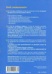 Droit communautaire (2e edition) - 4ème de couverture - Format classique