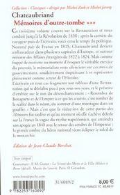 Mémoires d'outre-tombe t.3 - 4ème de couverture - Format classique