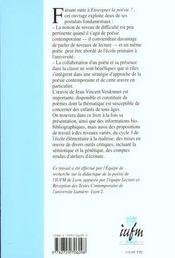 Un Poete Dans La Classe ; Jean -Vincent Verdonnet - 4ème de couverture - Format classique
