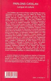 Parlons Catalan ; Langue Et Culture - 4ème de couverture - Format classique