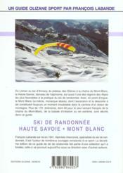 Ski de randonnee en haute savoie et au mont-blanc - 4ème de couverture - Format classique