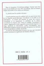 Formulaire d'occultisme pratique - 4ème de couverture - Format classique