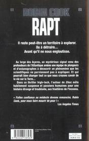 Rapt - 4ème de couverture - Format classique