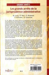 Les Grands Arrets De La Jurisprudence Administrative (16e Edition) - 4ème de couverture - Format classique