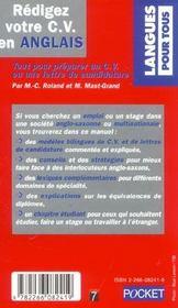 Redigez Votre Cv En Anglais - 4ème de couverture - Format classique