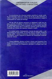 L'Indemnisation Publique Des Victimes D'Infractions ; L'Indemnisation Par Le Fonds De Garantie - 4ème de couverture - Format classique